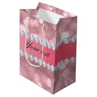 Pink Glitter Bokeh and Diamonds Personalized Medium Gift Bag