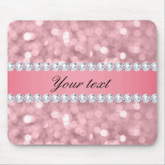 Pink Glitter Bokeh and Diamonds Personalized Mouse Pad