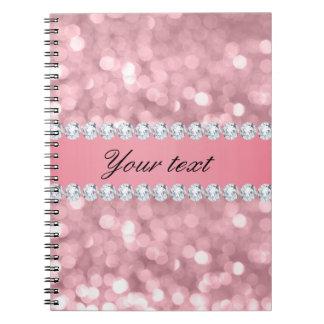 Pink Glitter Bokeh and Diamonds Personalized Notebook