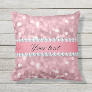 Pink Glitter Bokeh and Diamonds Personalized Outdoor Pillow