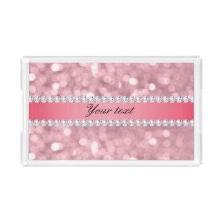 Pink Glitter Bokeh and Diamonds Personalized Serving Tray