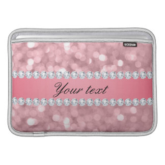 Pink Glitter Bokeh and Diamonds Personalized Sleeve For MacBook Air