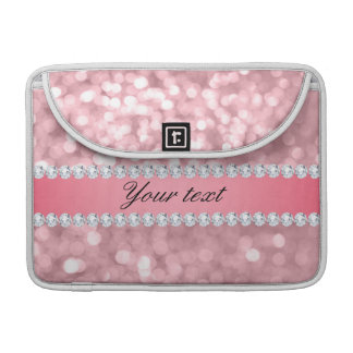 Pink Glitter Bokeh and Diamonds Personalized Sleeve For MacBooks