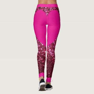 Pink Glitter Bright Pink Heart Leggings