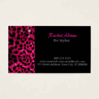 Pink Glitter Cheetah Print Pet Groomer Business Card