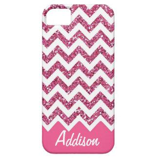 Pink Glitter Chevron Name BLING Case
