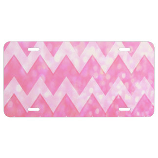 Pink Glitter Chevron Pattern License Plate