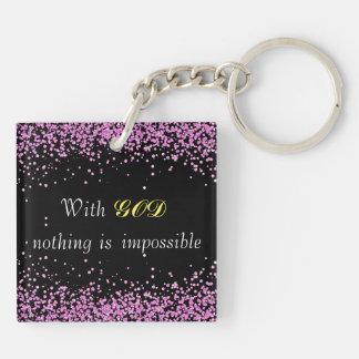Pink Glitter Christian Keychain