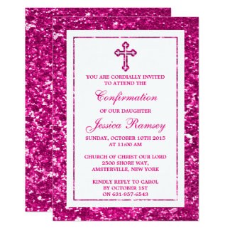 "Pink Glitter Cross Holy Communion Or Confirmation 5"" X 7"" Invitation Card"