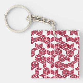 Pink Glitter Cube Pattern Keychain