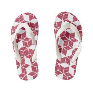Pink Glitter Cube Pattern Kids Flip-Flop Kid's Flip Flops