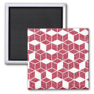 Pink Glitter Cube Pattern Magnet