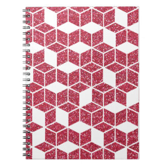 Pink Glitter Cube Pattern Notebook