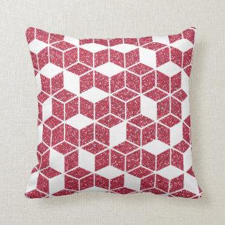 Pink Glitter Cube Pattern Pillow