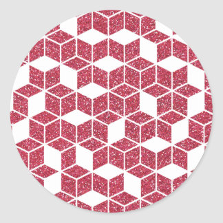 Pink Glitter Cube Pattern Sticker