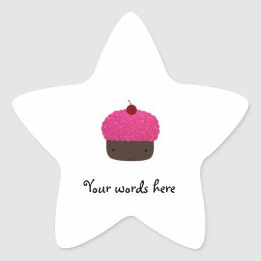 Pink glitter cupcake star sticker