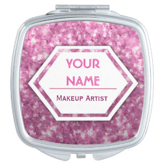 Pink Glitter Customizable Mirror For Makeup