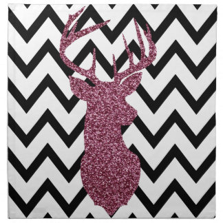 Pink Glitter Deer Chevron Printed Napkins