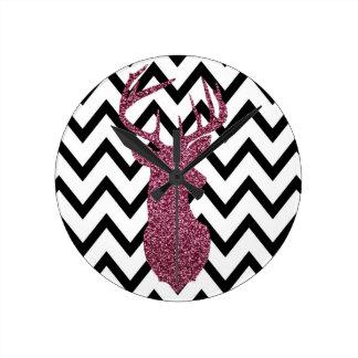 Pink Glitter Deer Chevron Round Clock