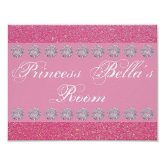 Pink Glitter Diamond Princess Room Personalized Poster