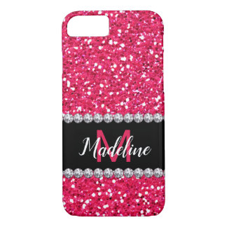 Pink Glitter, Diamonds Gems, Monogrammed iPhone 8/7 Case