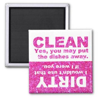 Pink Glitter Dishwasher Square Magnet