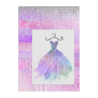 Pink Glitter Dress Acrylic Wall Art