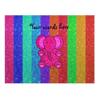 Pink glitter elephant with rainbow stripes postcard