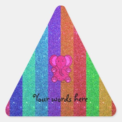 Pink glitter elephant with rainbow stripes triangle stickers
