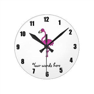 Pink glitter flamingo round clock