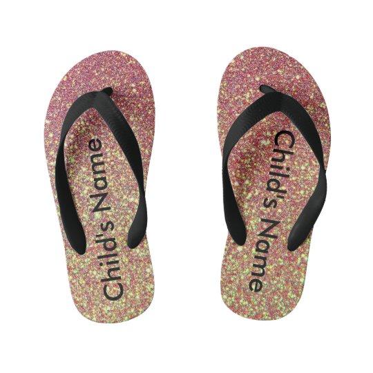 Pink Glitter Flip Flops - child size