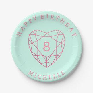 Pink Glitter Gemstone Heart Happy Birthday Mint Paper Plate