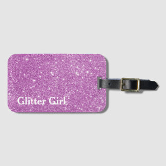 Pink Glitter Girl Show Your Sparkle Bag Tag