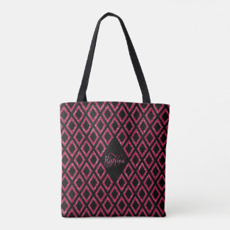 Pink Glitter Girly With Name And Monogram Tote Bag
