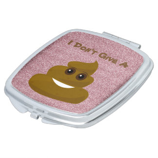 Pink Glitter Give A Poo Emoji Vanity Mirror