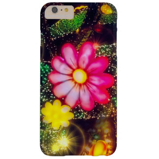 Pink Glitter Glow Retro Flowers Neon Lights Barely There iPhone 6 Plus Case