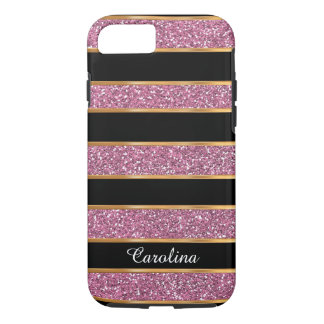 Pink Glitter, Gold & Black, Personalized with Name iPhone 8/7 Case