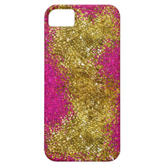 Pink Glitter Gold Snakeskin iPhone 5 Covers