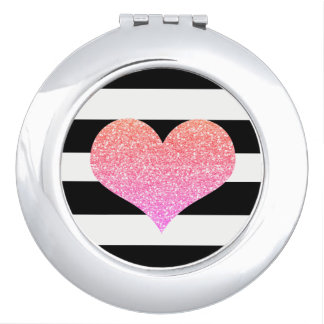 Pink Glitter Heart Black/White Compact Mirror