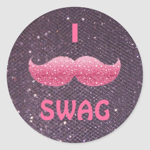 Pink Glitter 'I Mustache SWAG' Stickers