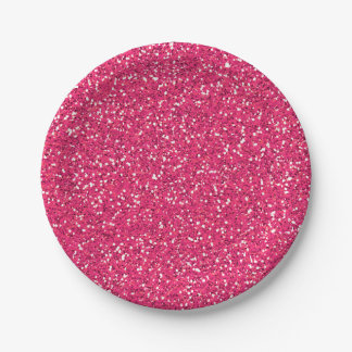 Pink Glitter Image Custom Party 7 Inch Paper Plate
