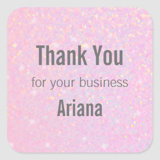 Pink Glitter Iridescent Effect Thank You Stickers