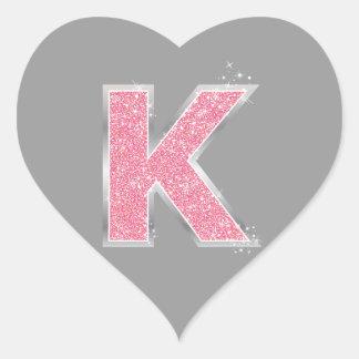 Pink Glitter letter K Heart Sticker