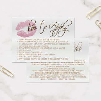 Pink Glitter Lips 2 - How to Apply Business Card