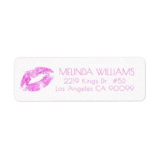 Pink Glitter Lips & Dots Pattern Return Address Label