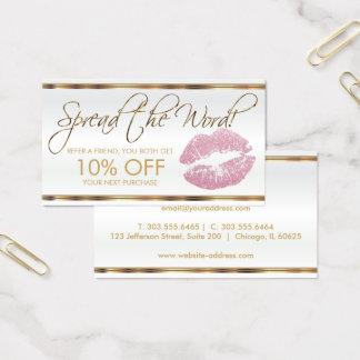 Pink Glitter Lipstick Business Referral Business Card