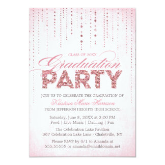 Pink Glitter Look Graduation Party Invitation