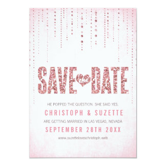 """Pink Glitter Look Save The Date 5"""" X 7"""" Invitation Card"""