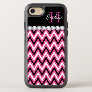 Pink Glitter Monogram Black White Chevrons OtterBox Symmetry iPhone 8/7 Case