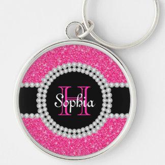 Pink Glitter Monogrammed Round Keychain